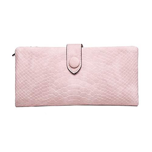 NOLOGO Wallet Damen Lange Krokodil Muster Multi-Card-Klappgeldbörse Vertical Wallet (Color : Pink)