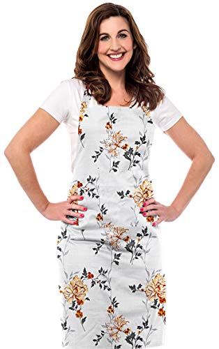 Ruvanti Chef Apron for Women.100 % Cotton Durable Kitchen Aprons with Pockets.Plus Size Adjustable Neck Strap, Long Ties.Fall Color Cute Aprons for Thanksgiving ,Christmas,Cooking,Baking & Painting.
