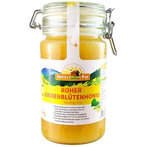Ruwe lindebloesemhoning uit ImkerPur, ongefilterd, niet gecentrifugeerd of verhit, bevat bloemenstuifmeel, bijenwas, propolis, bijenbrood en koninginnengelei (1000 g ruwe lindehoning)