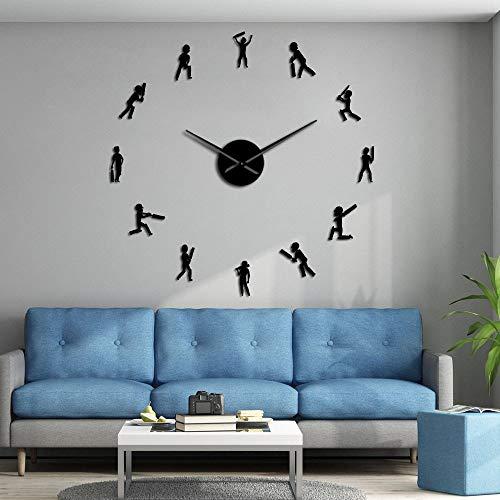 Jugador de Cricket Deportista Silueta DIY Gigante Wall Clocks Sport Boys Teen Room Decor Cricketer Silent Movement Large Wall Watch(Negro,47inch) Las Mejores Decoraciones para el hogar, decoración d