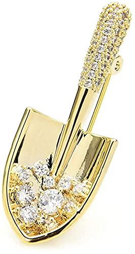 FOPUYTQABG Broche Broche Circón cúbico en Forma de Pala Exquisita Broche de Moda Mujer Hombre Pala Exquisita Herramientas de jardín Ocio