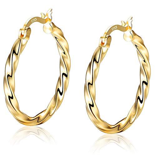 Sllaiss Twist Creolen S925 Sterling Silber Weißgold plattierte Sleeper Ohrringe für Damen Herren 18 K Gold Huggie Creolen Durchmesser 25mm