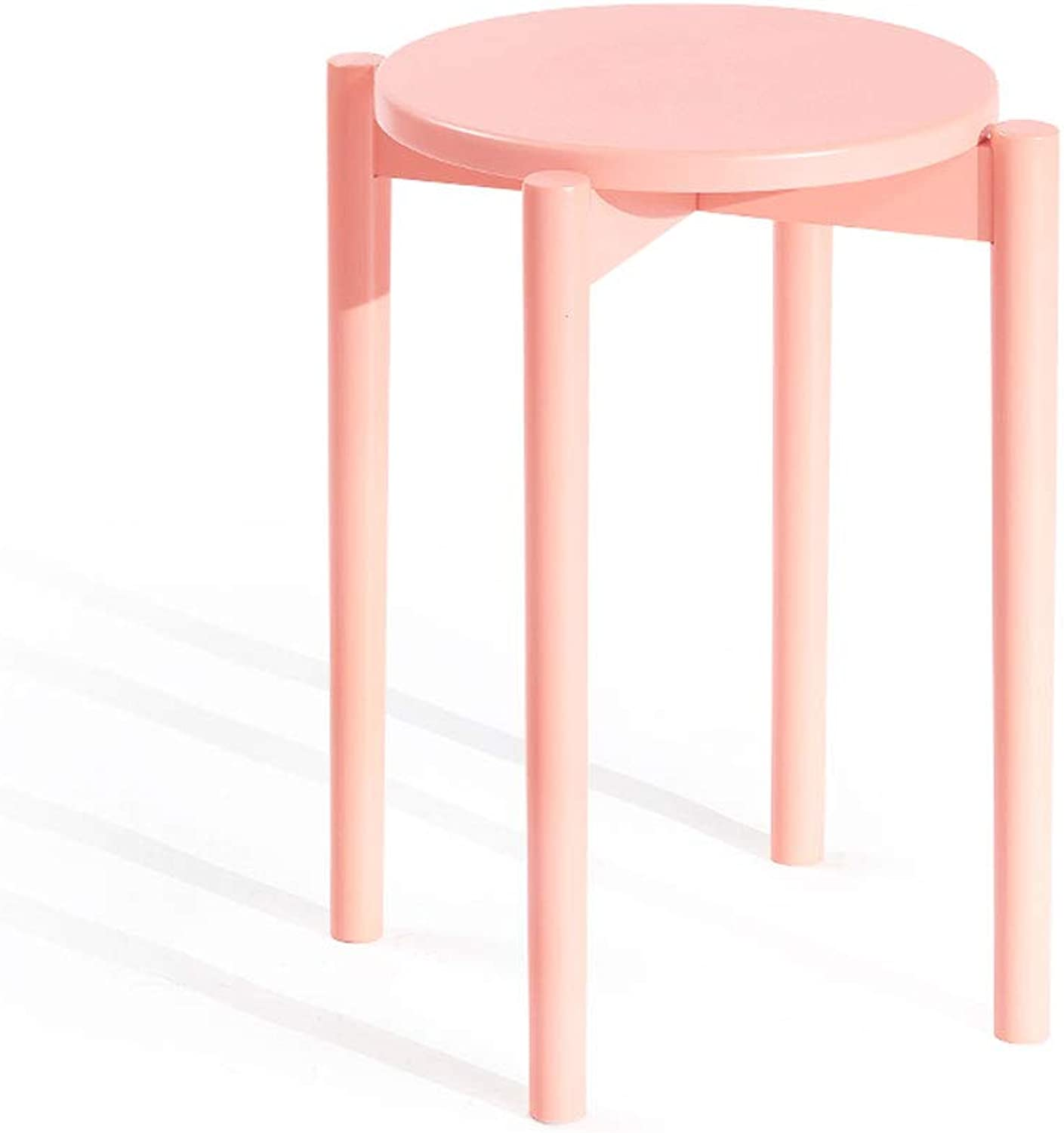 Dressing Stool, Modern Round Small Solid Wood Bench Creative Dining Table Stool Seat Makeup Vanity Stool Chair (color   Pink)
