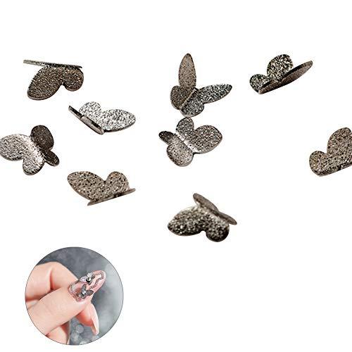 MoreChioce 3D Nail Art Papillon,100 pièces Strass à Ongles Glitter Nail Art Strass Art d'ongle Multicolores Ongles Bijoux Strass à Ongles Art Décorations 4 * 4 mm,Gris Argent