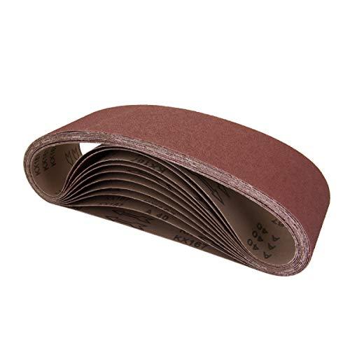 POWERTEC 110118 4 x 36 Inch Aluminum Oxide Sanding Belt Assortment, 3 Each of 60 80 120 150 240 400 Grits