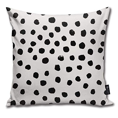 Preppy Brushstroke Free Polka Dots Black And White Spots Dots Dalmation Animal Spots Design Cushion Covers Home Decorative Throw Pillowcases for Livingroom Sofa Bedroom Car 18X18inch