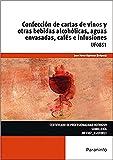 Confección de cartas de vinos y otras bebidas alcohólicas, aguas envasadas, cafés e infusiones