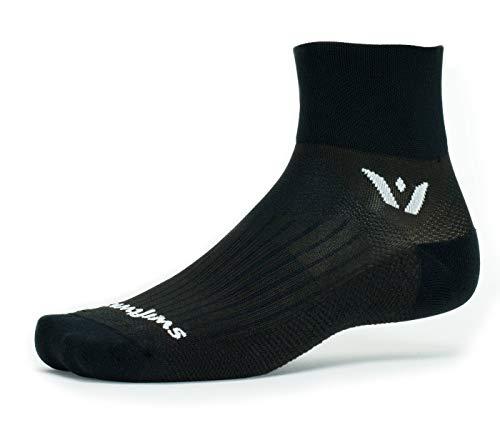 Swiftwick- PERFORMANCE TWO Running & Cycling Socks for Men & Women, Cushion Crew Socks (Black, Large)