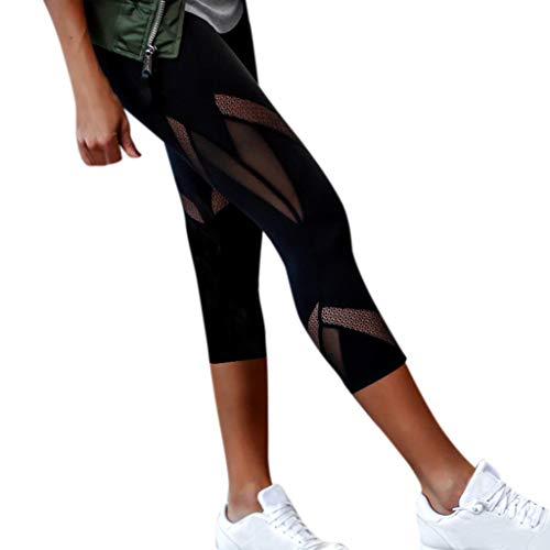 LEEDY Ausverkauf! Sport Leggings, Damen 3/4 Sporthose Yogahose Mesh Hüfte Push-Up Skinny Hose Hoher Bund Blickdicht Capri Leggings Yoga Pants Lang Fitnesshose