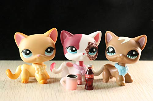 USALPS lps Short Hair Cat 3pcs #339#391#2291 Old Figures Collectable with lps Accessories lot