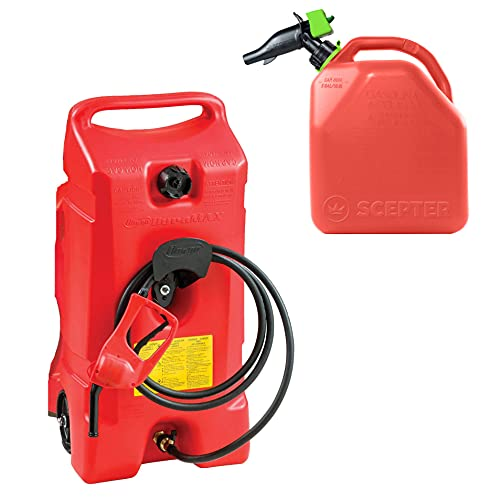 Scepter Flo N Go Duramax 14 Gallon Gas Fuel Tank Container and Pump Bundle with Portable 5 Gallon Kerosene Gasoline Container, Red