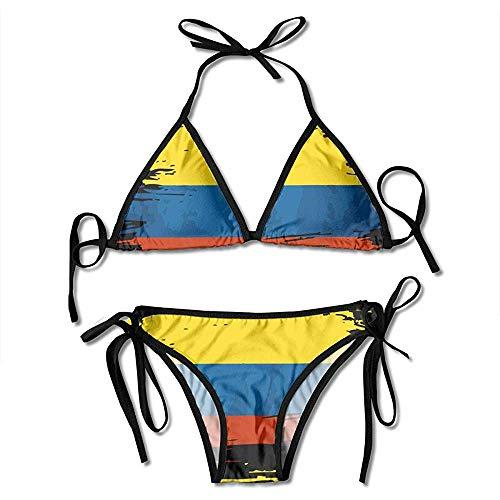 Bikini Set,Badeanzug,Badeanzüge,Zweiteilige Bikini,Damen Badeanzug,Bademode,Schwimmanzug,Kolumbien Fahnendruck Bikini Set Fashion Sexy Womens Einstellbare Badeanzüge