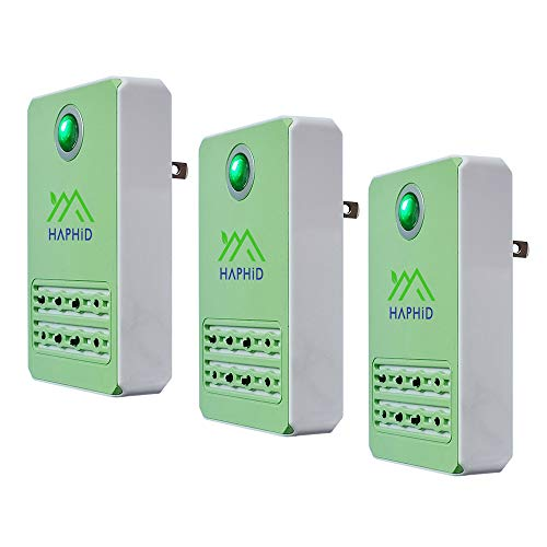 Plug In Air Purifier HAPHID Negative Ion Generator with Highest Output - Up to 60 Million Negative Ions/Sec, Filterless Mobile Ionizer & Portable Purifier Clean: Allergens,Pollutants, Odors(3 Pack)