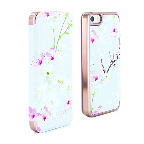 Ted Baker SS17 ANA Oosterse Blossom Premium Kwaliteit Folio Style Case met ingebouwde spiegel voor Apple iPhone SE - Rose Gold