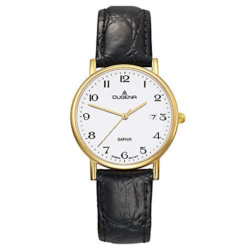 DUGENA Herren-Armbanduhr 2170996 Zenit, Quarz, weißes Zifferblatt, Edelstahlgehäuse, Saphirglas, Lederarmband, Dornschließe, 3 bar