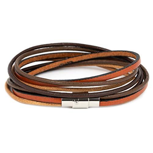 Simaru Lederarmband Wickelarmband mit Edelstahlverschluss inkl. Magnet für Herren & Damen Armband mit Premium Qualität braun/rotbraun in S bis XL (S - braun)