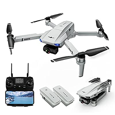 Drones with Camera for Adults, LARVENDER KF102 5G FPV Quadcopter Drone with 2-Axis Gimbal 4K Camera Live Video, 2 Batteries 50Mins Flight Time GPS Auto Return Home, Drones for Kids with Carrying Case