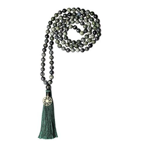 coai Unisex Handgeknüpft 108 Mala Yoga Kette Buddhistische Halskette Gebetskette aus Zebra Jasper mit Quaste und Kompass Charm
