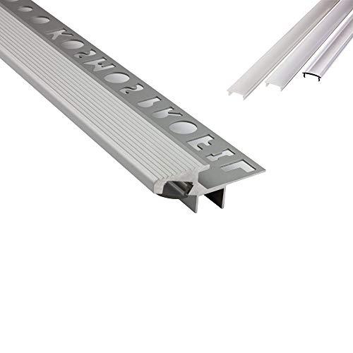 T-40 20° LED Alu Fliesenprofil Treppenprofil Stufen 10mm silber + Abdeckung Abschlussleiste Fliesen für LED-Streifen-Strip 2m milky