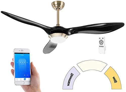 Sichler Haushaltsgeräte WiFi-Deckenventilator: 2in1-WLAN-Deckenventilator & LED-Lampe, Sprachsteuerung, Timer,1000 lm (Deckenventilator LED Fernbedienung)
