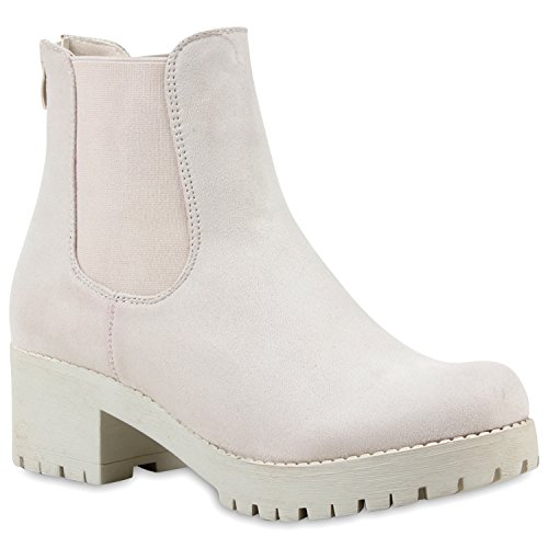 Damen Chelsea Boots Blockabsatz Plateau Stiefeletten Leder-Optik Schuhe 114796 Nude 40 Flandell