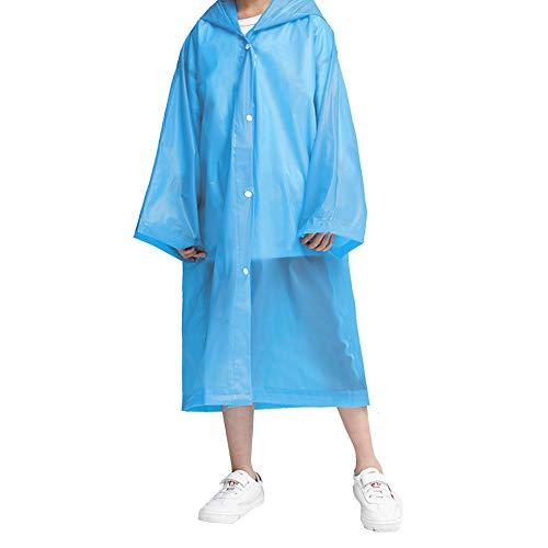VCOSTORE Kids Rain Ponchos, Clear Rain Coat Wrinkle Free Hooded Rainwear for Boys Girls Age 3-12 Blue