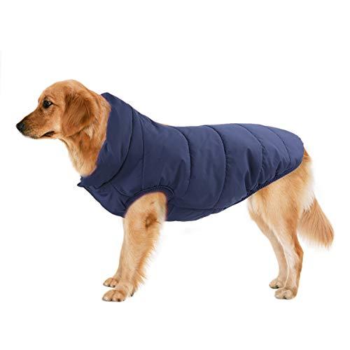 TFENG Hundemantel Hundejacke für Hunde, Warm gepolstert Puffer Weste Welpen mit Fleece, Blau, Größe 2XL