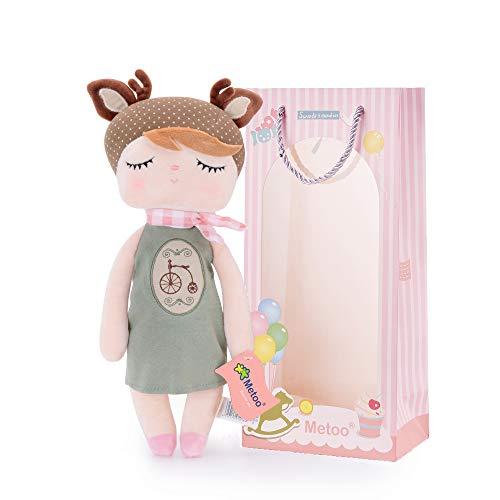 Metoo Baby Plüsch Puppe Stofftier Baby Geschenk Mädchen Puppen Sicher und weich zu Spielen Angela Serie mit Geschenktüte - Fahrrad
