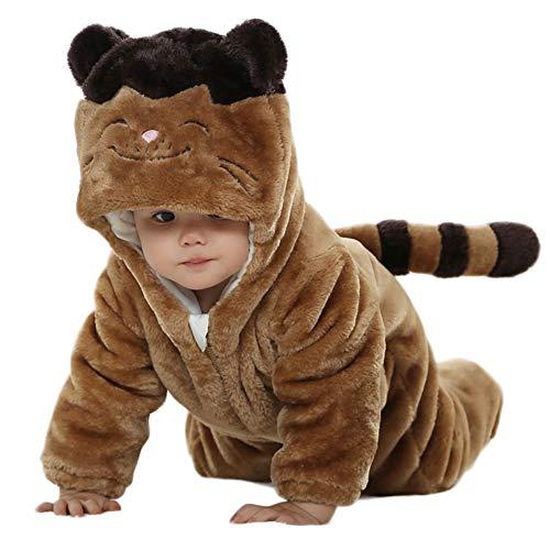 LSERVER Mameluco de Cosplay para Bebés Recién Nacidos Ropa de Arrastre Disfraz Divertida Pijama de Franela con Capucha de Animales, Gato Marrón, 70 (Altura Recomendada:59-66cm)