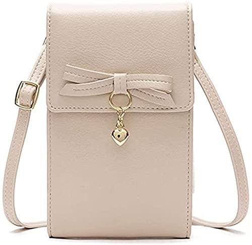 Regalos para mujeres, funda para teléfono móvil para colgar al hombro, bolso de mano para mujer, bolso cruzado de piel, bolso pequeño, moda suave, beige, 4.3*1.6*7.1 Zoll,