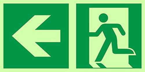 Anro Warnschild für Notausgang E001/1 | Nachleuchtendes PVC Sicherheitsschild Fluchtweg | Selbstklebendes Rettungsweg-Schild für Betriebe, Produktion & Kliniken | Farbe: Grün