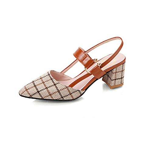 ZJMM Sandalias De Tacón Grueso Salvaje Salvaje para Mujer Beige Zapatos para Niños Talla Grande 42 Tacones Altos Sandalias Puntiagudas para Mujer
