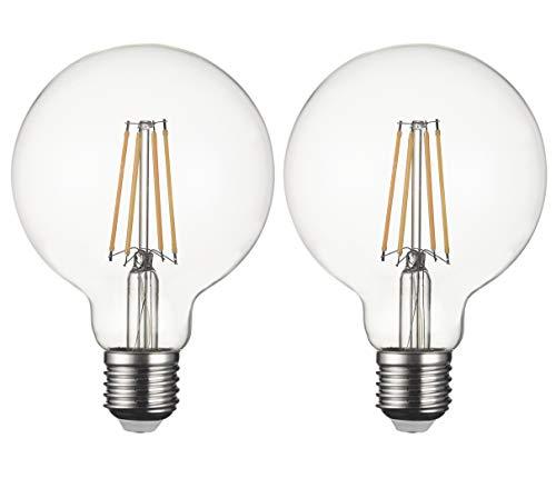 Bombillas LED SD LUX E27 Bombillas LED de filamento vintage de globo, G95 Bombillas LED de tornillo Edison sin parpadeo - 8W 800LM Blanco cálido 2700K, 2 paquetes [Clase energética A +]