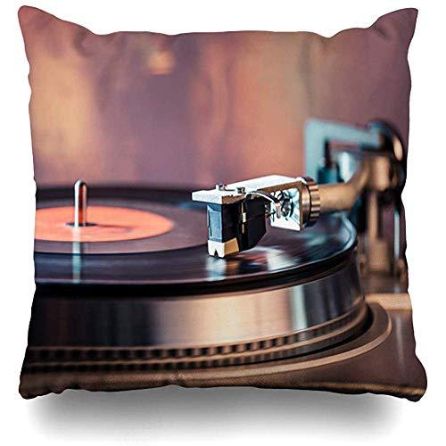 Dekokissenbezug 16x16 (40 x 40 cm) Schwarz Nostalgie Vinyl Plattenspieler Helle Lichter Discobokeh Kopf Vintage Musik Retro Akustische Audio Kissenbezug