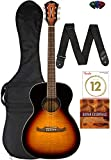 Fender FA-235E Concert Acoustic Guitar Bundle with Gig Bag, Strap, Strings, Picks, and Instructional DVD - 3-Tone Sunburst