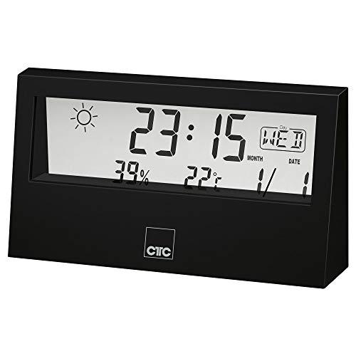 CTC WSU 7022 - Stazione meteo multifunzione con orologio e display LCD trasparente, memoria dati per temperatura e umidità, funzione di allarme, colore: nero