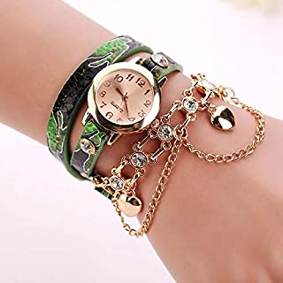 Fashion Women Round Dial Leather Belt Loop Bracelet Quartz Watch(Red) Personality (Color : Green)
