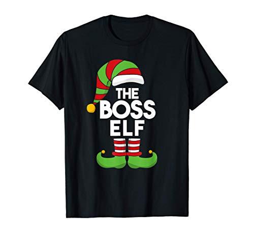 Divertido disfraz de Navidad de elfo jefe a juego con Camiseta