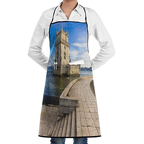 ASNIVI Delantal de cocina,Torre de Belem - Monumento famoso de Lisboa Portugal,Delantales...