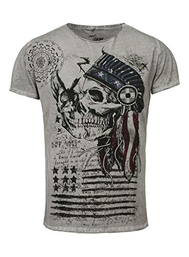 Key Largo T-Shirt Indian Skull weiß Grau L