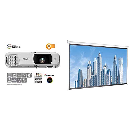 Epson EH-TW650 3LCD, Full HD, 3100 Lumens, 300 Inch Display, Wi-Fi, Gaming & Home Cinema Projector - White & AmazonBasics 100 inch Manual Pull Down Projector Screen 4K / 8K Ultra HDR 3D Ready