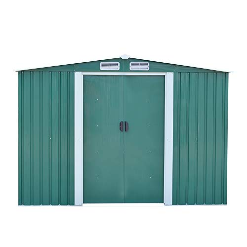 Panana 8 x 10ft Tool Storage House Metal Garden Apex Roof Storage Shed Door at 8FT side (Green)