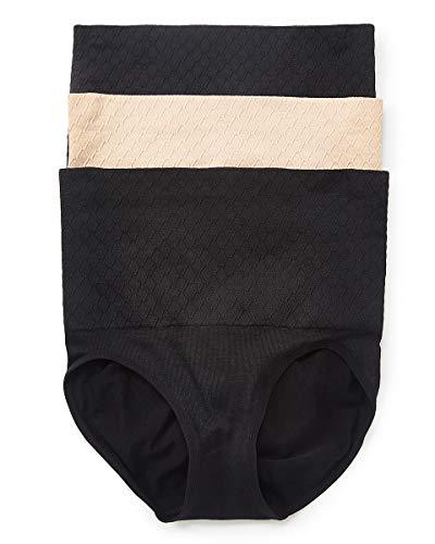 Gloria Vanderbilt Womens Underwear Tummy Control Panties, Shaping Hi-Waist Brief Firm Tummy Control Panties 3 Pack (Black, 2X-Plus)