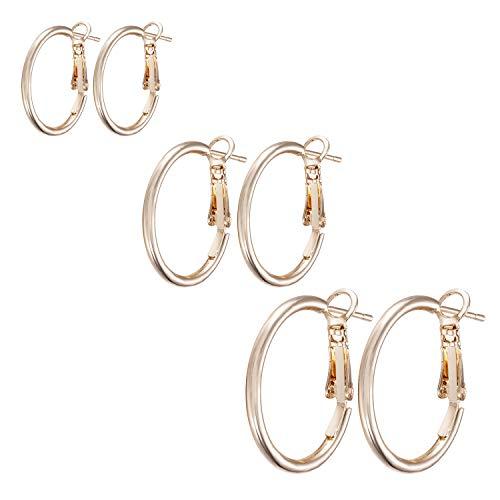 Hoop Earrings for Women Girls Loop Drop Round Earrings Elegant Gift 25mm 35mm 45mm Hoop Ear Rings 3 Pairs Silver/Gold
