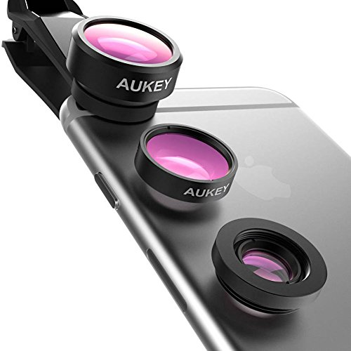 AUKEY Optic iPhone Camera Lens, 180¡ã Fisheye Lens + 110¡ã Wide Angle + 10X Macro Mini Clip-on iPhone Lens Kit for iPhone, Samsung, Android Smartphones