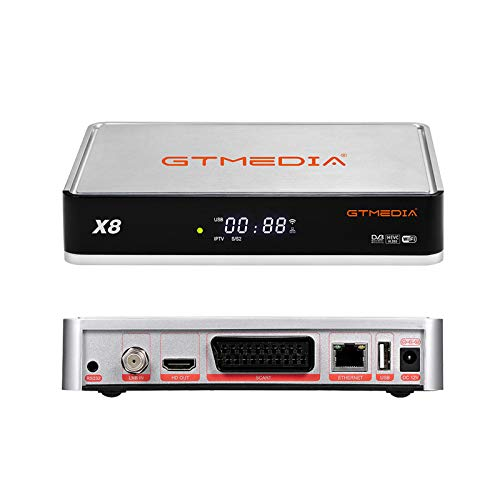 GT MEDIA X8 Decodificador Satélite Receptor DVB-S/S2/S2X T2-MI - Apoyar HD 1080P/ PVR/ HDMI/ SCART/ HEVC H.265/ 10bit/ Biss Auto Roll/ WiFi