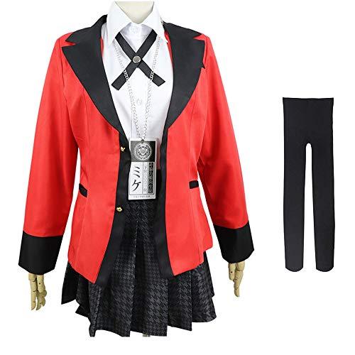 Shihong-G Jabami Yumeko Kostüm Kakegurui Zwangsspieler Halloween Anime Cosplay Full Set Kleid Jacke Hyakkaou Private Academy Schuluniform Kleid