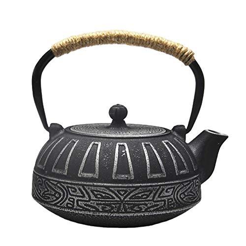 Juego de tetera de hierro fundido japonés, tetera de hierro, tetera con filtro de té, tetera de 800 ml con infusor de acero inoxidable, taza de té de 120 ml