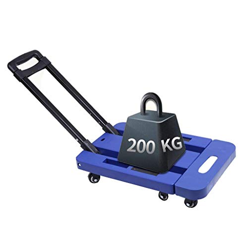 YDDZ Platte Trolley Heftruck/Winkelwagen Vouwen Draagbare Trolley Mobiele Kleine Trailer Huishoudelijke Trolley Mute Trolley Inklapbaar Draagbaar (Kleur: Blauw, Grootte: 36x68cm)
