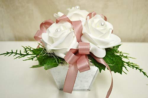 Tischdeko weiß rosa Rosen Kunstblumen Blumen Gesteck Hochzeit Taufe Kommunion